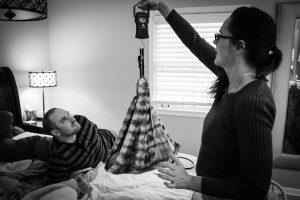 Midwife Lisa performing newborn assessment.