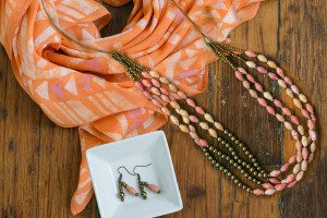 Beautiful jewelry is hand-crafted by our partners in Haiti, and scarves like the one above are hand-dyed in Uganda. (Special Mother's Day Bundle in Tangerine $109, http://goex.org/tangerine-bundle.html