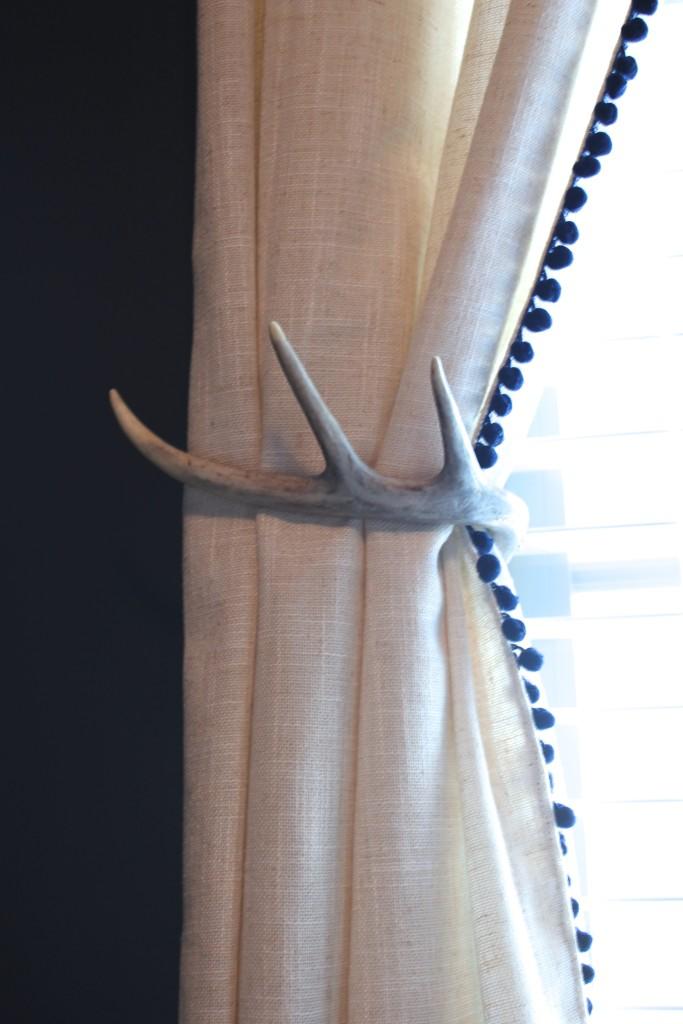 DIY pom pom trim curtains