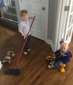 Sweeping up teddy bears and little brothers. Still counts!