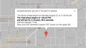total solar eclipse locator map St. Joseph Missouri