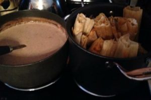 The finished product! Fresh Tamales and atole.