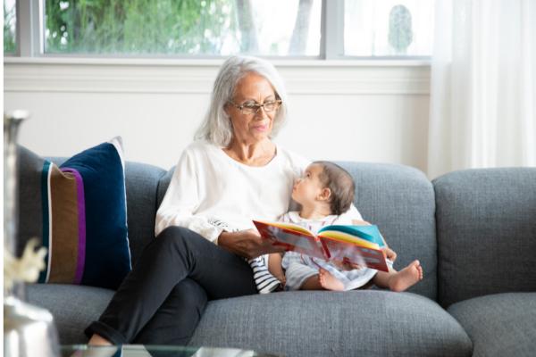grandma and little girl reading
