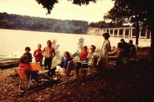 people camping at lake