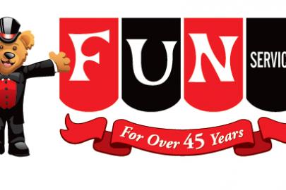fun services 45 year banner bear logo - angela olinger