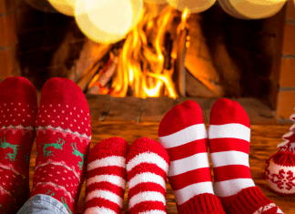 christmas socks by fire