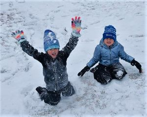 pic of girls playing in snow