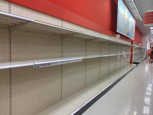 empty shelves at Target
