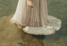 wedding dress in water