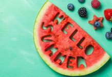 """pic of watermelon with """"Hello Summer"""" cut into it"""