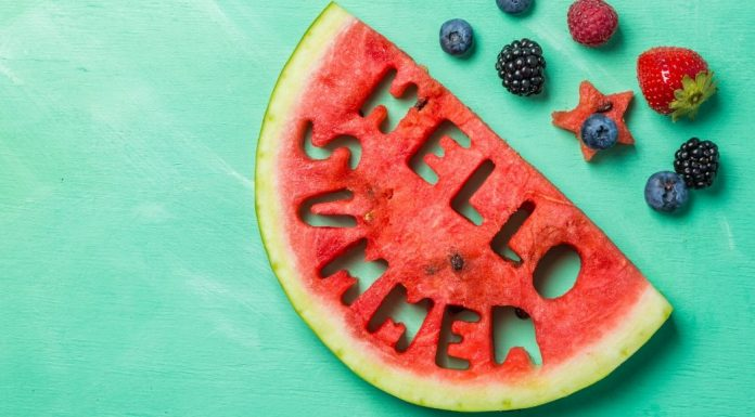 "pic of watermelon with ""Hello Summer"" cut into it"