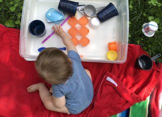pic of toddler playing with DIY water table