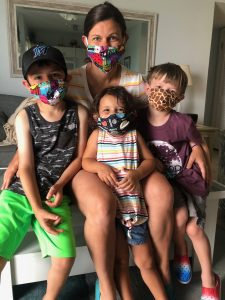 mom and kids in masks