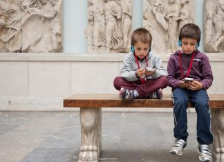 pic of young boys at a museum
