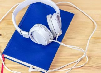 pic of book with earphones attached