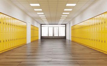 empty school with yellow lockers