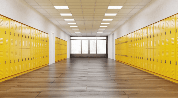 empty school with yellow lockers