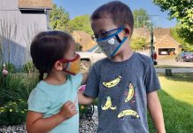 pic of two kids wearing masks