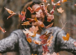 pic of woman throwing autumn leaves