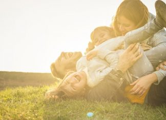 happy family playing outside