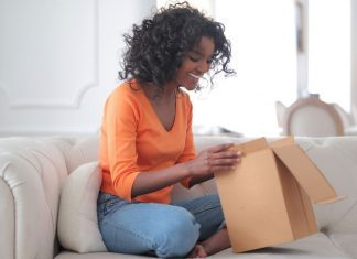 pic of woman opening package
