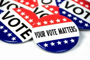"""pic of buttons that say """"Your Vote Matters"""""""