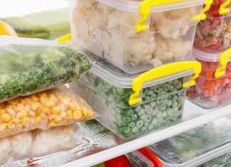 pre-made freezer meals organized in a freezer