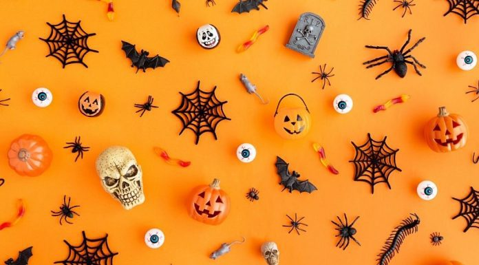 pic of assorted Halloween toys on an orange background