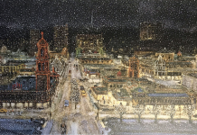 """An iconic KC print, Bob Holloway's """"Plaza Lights"""" can hang on your loved one's wall or on their tin from Topsy's."""
