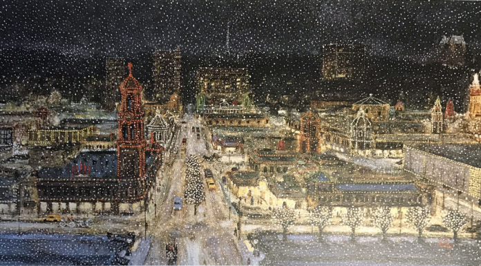 "An iconic KC print, Bob Holloway's ""Plaza Lights"" can hang on your loved one's wall or on their tin from Topsy's."