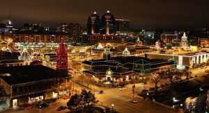 night view of Plaza Lights in Kansas City