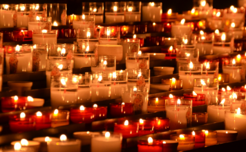 lots of lit candles