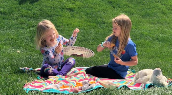 girls having picnic outside