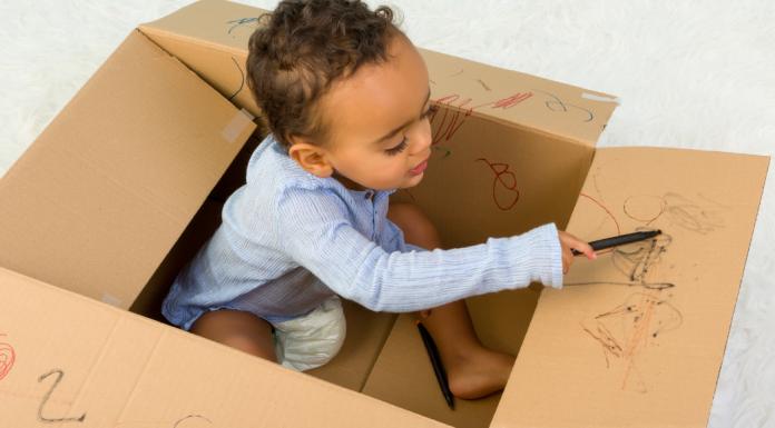 Toddler in Cardboard Box