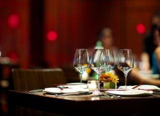 a set table at a restaurant