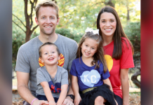 family pic: man, woman, boy, and girl in KC shirts