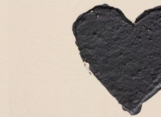black painted heart