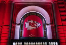 Kansas City Chiefs logo hanging at Union Station