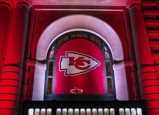 Kansas City Chiefs logo hanging at Union Station