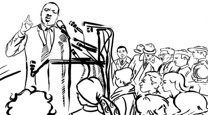 Drawing of Dr. Martin Luther King, Jr., speaking to a crowd