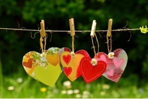 decorated hearts hanging on a clothesline