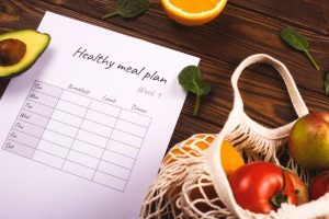 a meal planning sheet and some groceries