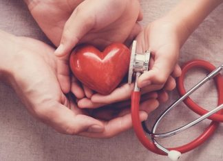 hands holding a plastic heart with a stethoscope