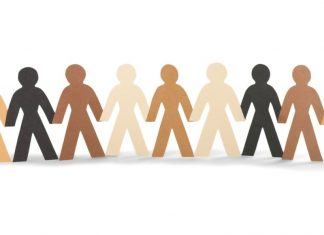 cut out paper figures in different skin tones