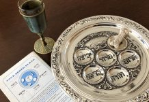 Seder plate with reading and glass