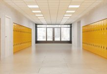 middle school hallway with lockers