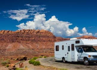 An RV by a scenic spot