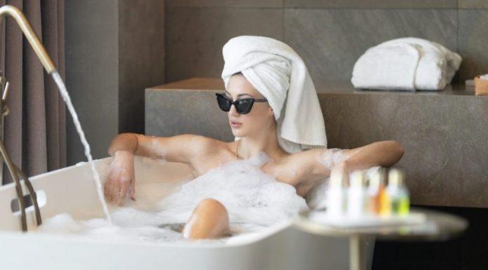 woman relaxing in a bathtub