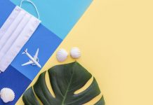 mask, small airplane, seashells