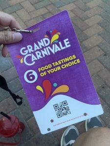 Grand Carnivale tasting card
